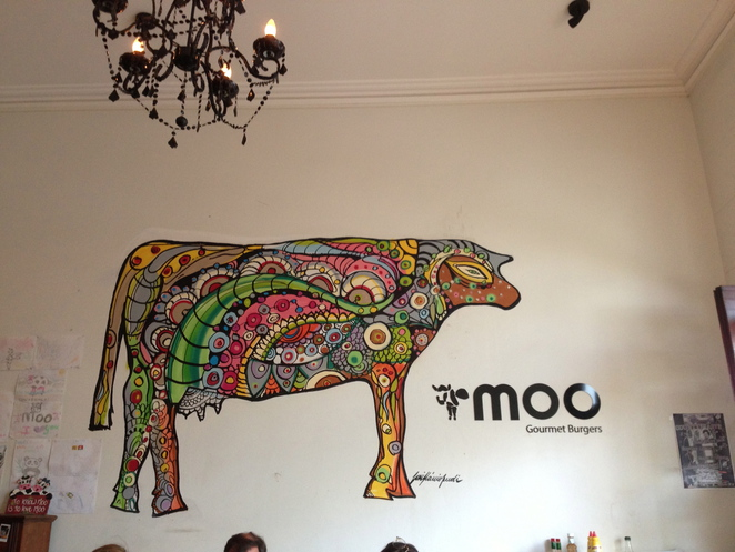 moo, burgers, newtown, king street, painting, cow, restaurant, dining, culinary, cafe, bar, food, picture, design, interior, wall, art, creative, new-age