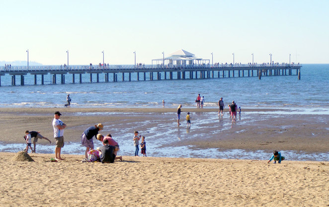 Shorncliffe's little swimming beach and pier