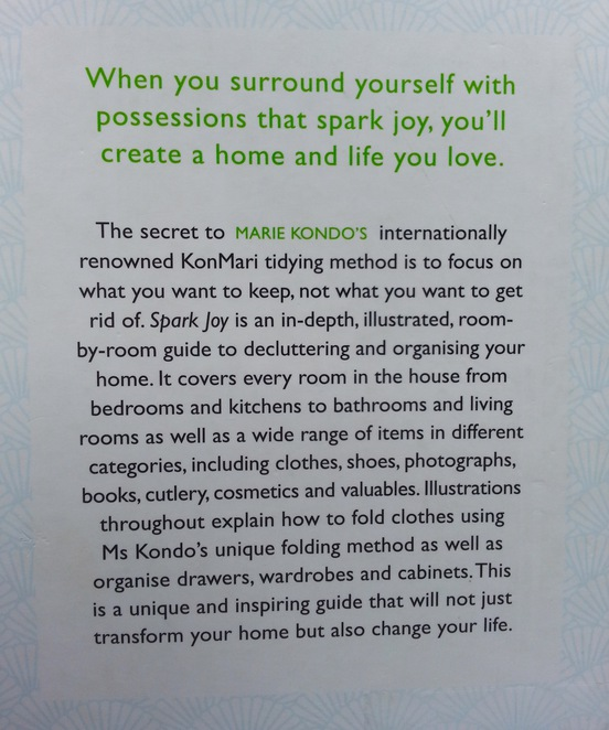 Spark Joy, Marie Kondo, An Illustrated guide to the Japanese Art of Tidying, Back cover, book
