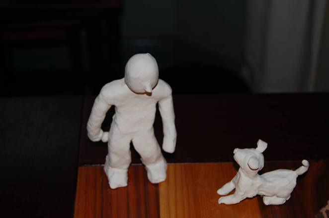 stopmotion plastercine man dog