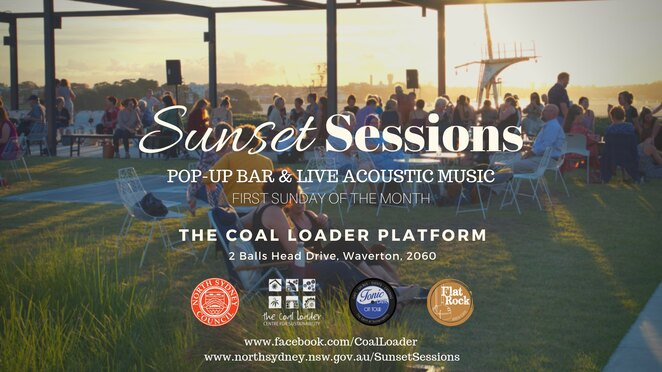 sunset sessions at the coal loader 2020, community event, fun things to do, pop up bar, rooftop garden, gin, locally brewed beer, organic wines, live acoustic music, free bar event, all abilities sustainability event, kid friendly, dog friendly, secret sydney, date night, nightlife