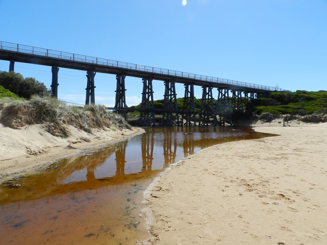 trestle bridge, rail trail, bourne creek, kilcunda, kilcunda beach, Victorian railways, heritage bridge,