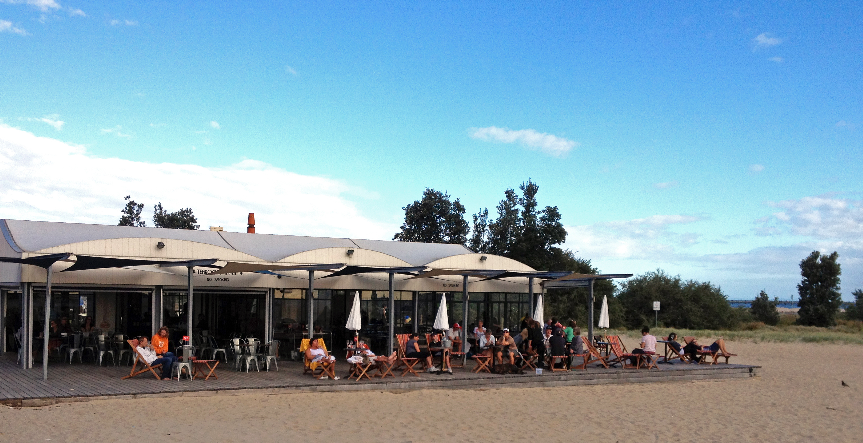Perfect for sunny afternoons: the deck at the West Beach Bathers ...