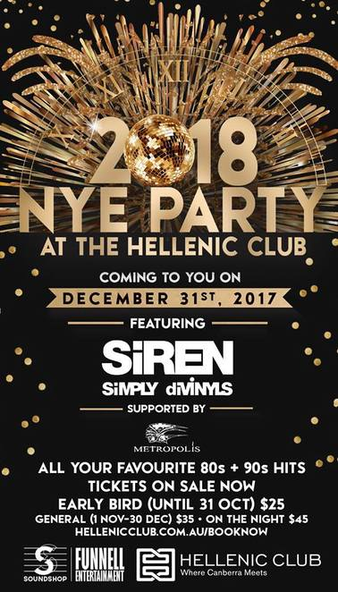hellenic club, canberra, new years eve, 2017, 2018, whats on, ACT, new years eve, bands, music,