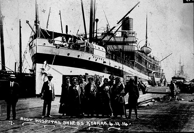 Life on Board the Troopships at ANZAC Cottage. Nurses, prior to boarding the Australian Hospital Ship, SS Kyarra, Adelaide, South Australia, December 1914 (https://collections.museumvictoria.com.au/items/765478).