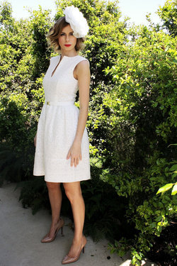 mae white lace dress race