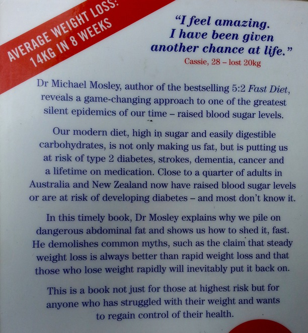 Michael Mosley, fast diet, 8-week blood sugar diet, mediterranean diet, 800 calories, book back cover