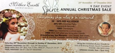 Mother Earth Aromatherapy, natural skin care products, Christmas sale, South Fremantle
