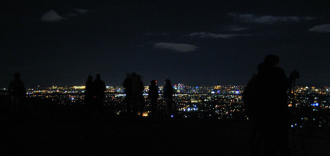 People on Mt Coot-tha in Brisbane at night