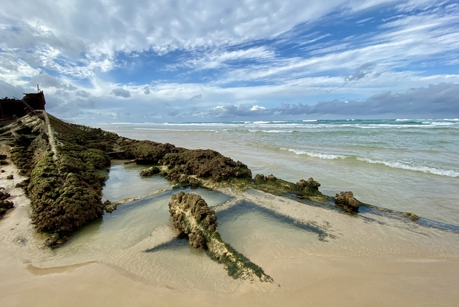 The Maheno Wreck is often fully exposed at low tide, allowing visitors an unusual opportunity to photograph a shipwreck from all angles