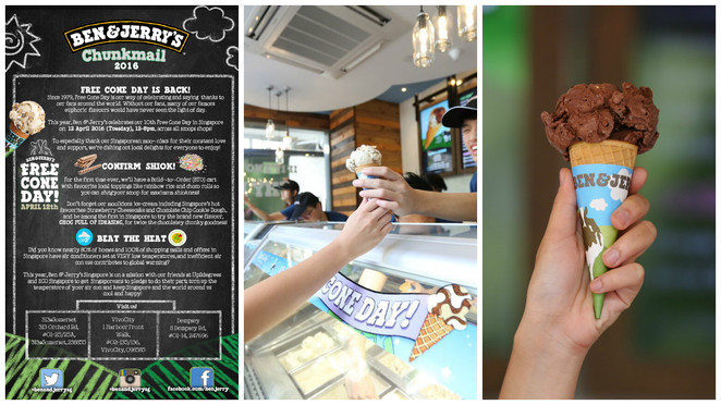 ben & jerry's, free cone day, ice cream, culinary, free in Singapore, american brand, free ice cream