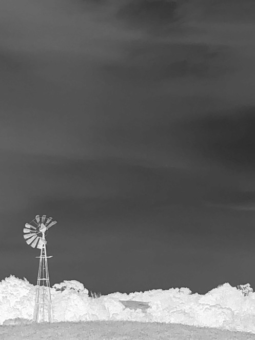 black and white windmill silhouette
