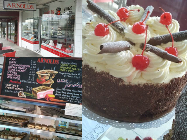 Black forest cake, Arnold's Swiss Cakes, chocolate cake