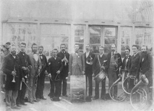 Brass band outside the conservatory in the Brisbane Botanic Gardens, Queensland, ca. 1885