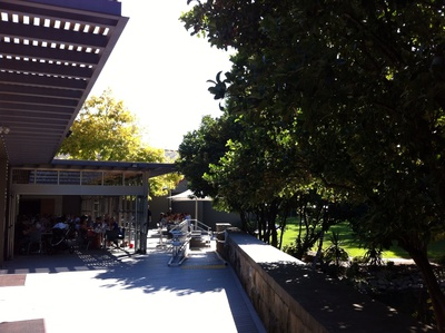The cafe has both indoor and outdoor seating area, which is perfectly suitable for different weather conditions