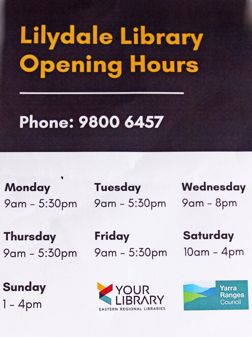library opening hours.