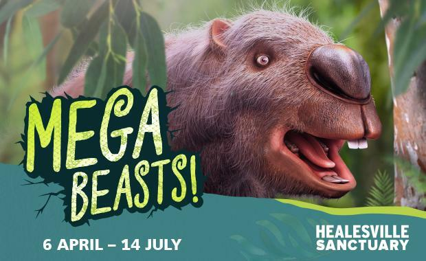 mega beasts, megafauna, giant animals, ancient emu, sloth, elephant, tiger, rhino, animatronics, healesville sanctuary, community event, fun things to do, roving mega keepers, school holidays, fun for kids, zoo exhibition