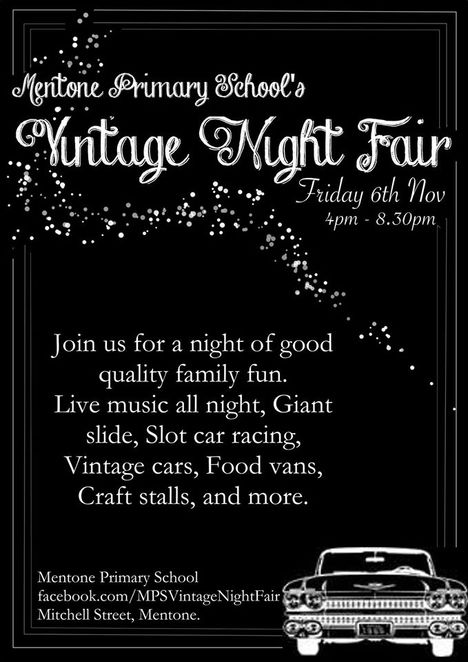 mentone primary school, vintage night fair, local producers, crafters, growers, activities, games, food vans, silent auction, raffles, prizes, christmas, shopping, market, stall holders