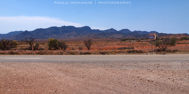 Merna Mora Station entrance with Moralana Track opposite, Flinders Ranges, South Australia