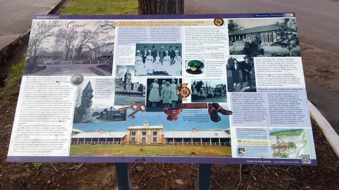 New Norfolk, Tasmania, information sign, Willow Court, mental hospital, historic town,