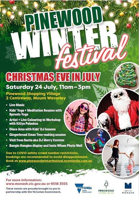 pinewood winter festival, christmas eve in july, community event, fun things to do, pinewood shopping village, christmas in july free event, free kids activities, santa clause, monash city council, live music, kids yoga, meditation session, spouts yoga, artist and live colouring in workshop, kitiya palaskas, disco area, kids dj lessions, gingerbread xmas tree making session, dj merry corsten, bangin hangings display, insta wham photo wall