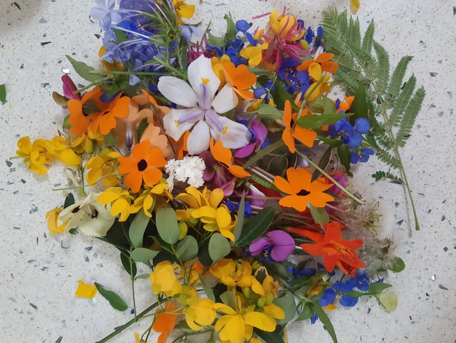 gathering flowers and leaves