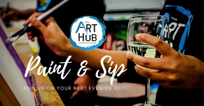 Ten must-do Paint & Sip Social Workshops, Art Hub Sunshine Coast, Caloundra, creative arts facility, adults only, over eighteens, aspiring artists, existing creatives, no prior experience necessary, all materials included, King Protea Paint & Sip, Hokusai's Wave Paint & Sip, Colourful Blooms Paint & Sip, Vivid Hinterland Paint & Sip, Street Style Paint & Sip, Gerald Giraffe Paint & Sip, Eiffel Tower Paint & Sip, Happy Cacti Paint & Sip, Beach Scene Paint & Sip, Playing with Parrots Paint & Sip, book early, date night, corporate get-togethers, team building, hens, stags, birthdays