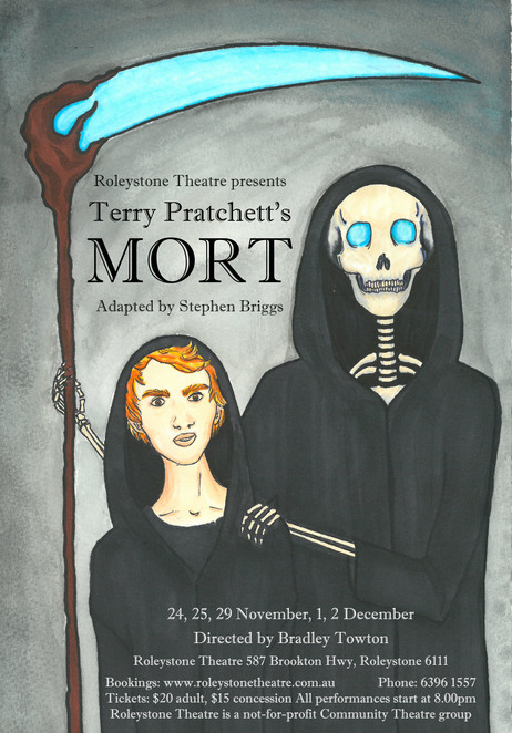 Terry Pratchett, Mort, Roleystone Theatre, performing arts, play, Discworld, Death, stage, adapted, Stephen Briggs