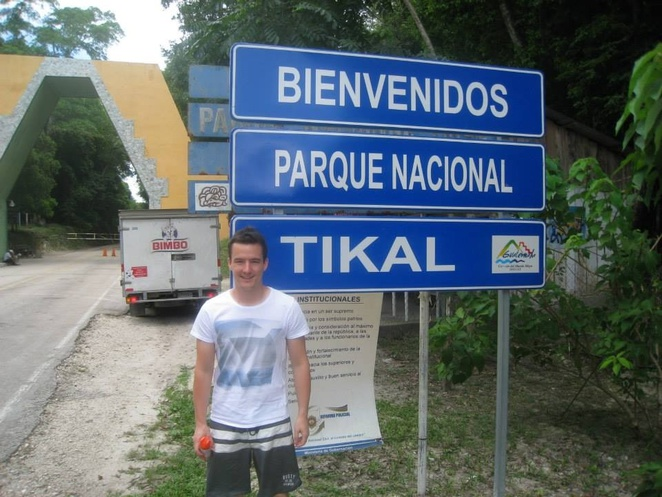 The Entrance to Tikal National Park leads you deep into the Guatemala jungles