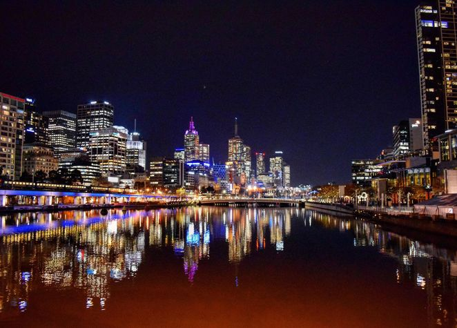 Night Photography Of City Lights At Southbank Melbourne