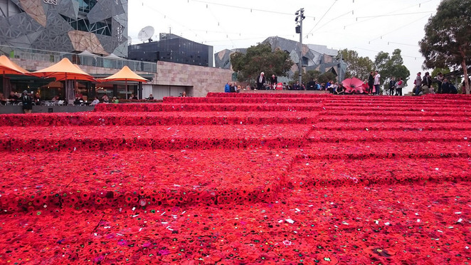 5000 Poppies - ANZAC Centenary Project at Federation Square