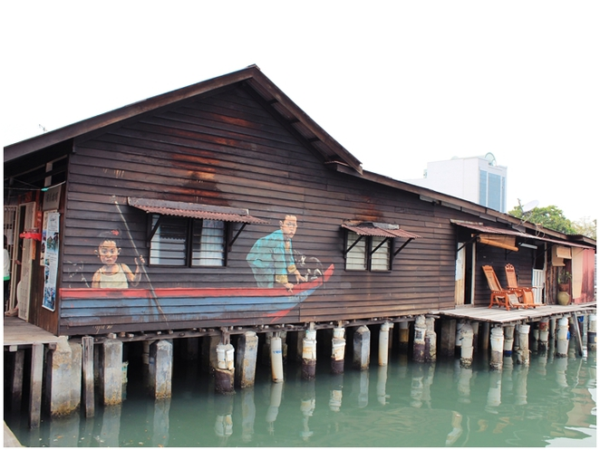Chew Jetty, Penang Street Art, Mural, Ernest Zacharevic, Children in a boat