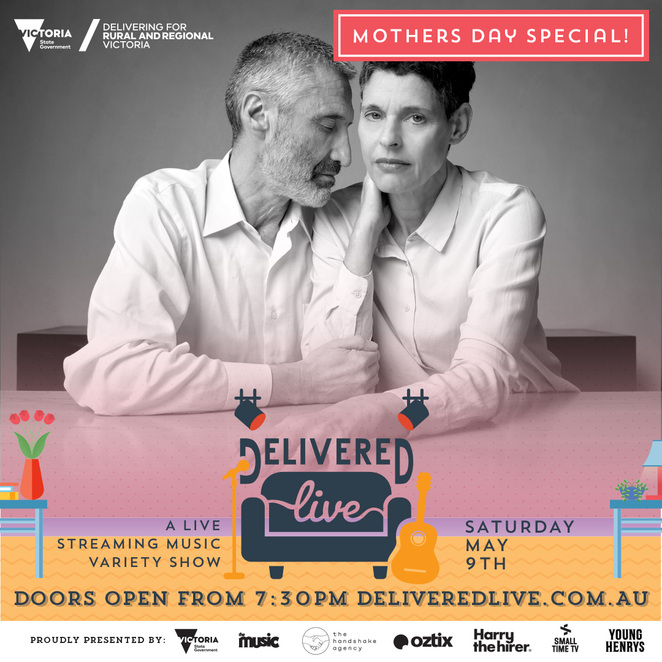delivered live mother's day special 2020, community event, fun things to do, music, fundraiser, performances, entertainment, bands, musos, musicians, oztix, deborah conway and willy zygier, sami shah, alex the astronaut, visit melbourne, young henrys, henry wagons, yergurl, family fun, online free music event, host myf warhurst, comedian denise scott, sami shah at the desk