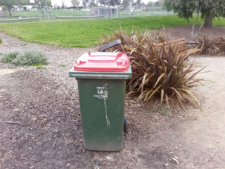 elliminyt Recreation Reserve, Colac, Playgrounds in Colac, rubbish bin, waste bin, park rubbish bin, red bin,