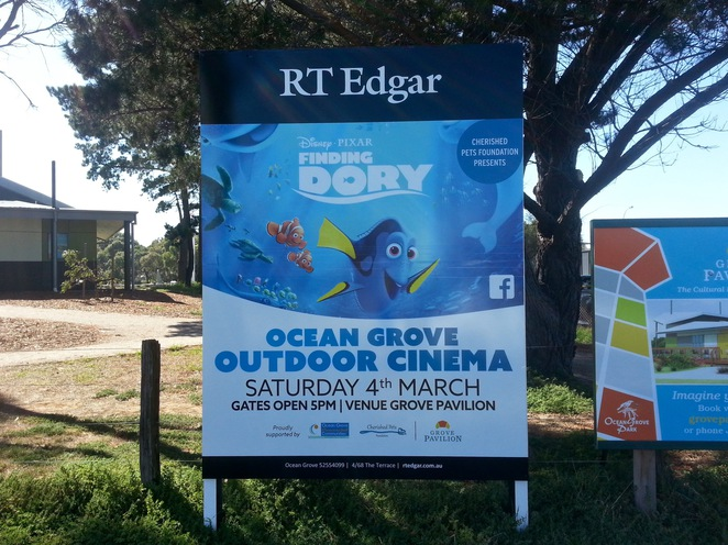 Finding Dory, Cherished Pets foundation, Outdoor Cinema Ocean Grove, Bellarine