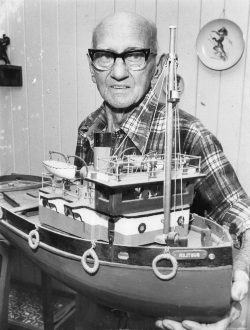 Joe Clark with model ship