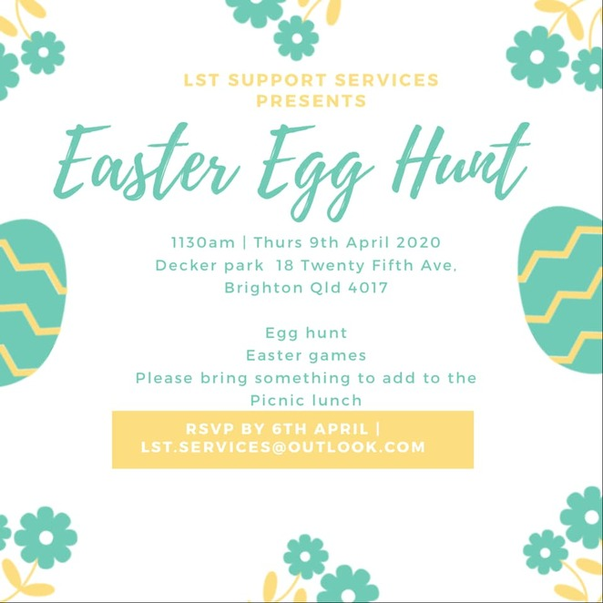 lst support services, easter, egg hunt, decker park, brighton, disability services, kids, family, fun