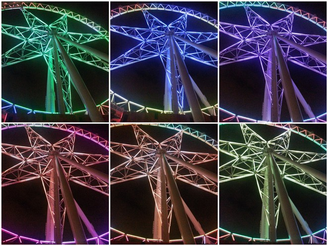 melbourne star, night view, led lights