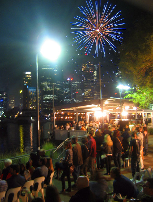 People at Riverlife watching Riverfire