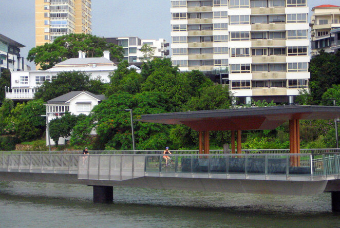 Riverwalk is popular for cyclists and walkers