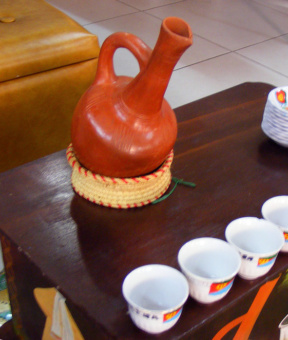 African coffee pot and cups