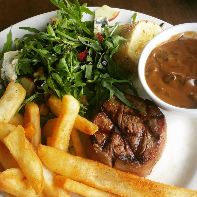 steak chips mushroom sauce morrison salad