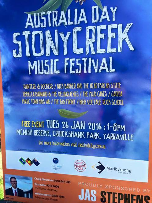 stony creek music festival, australia day, mcnish reserve, cruickshank park, music, live performances, bands, musicians, the painters and dockers, rock and roll hall of fame, dinosaur, mimi the muttaburrasaurus