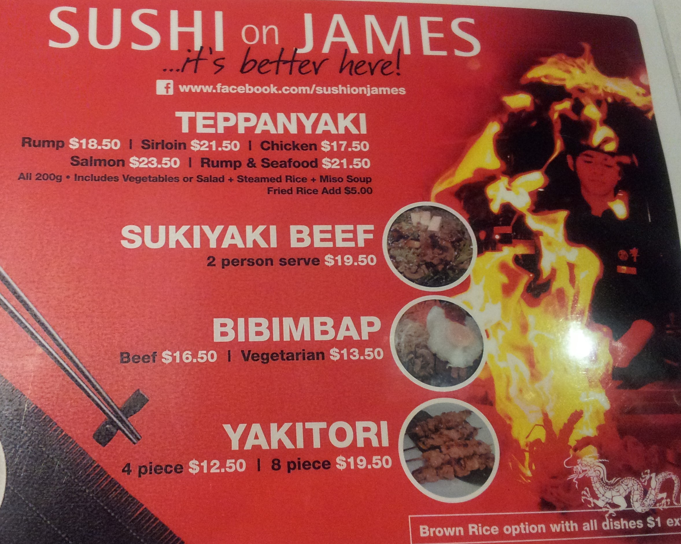 Sushi on james gold coast for Perfect kitchen takeaway menu harrogate