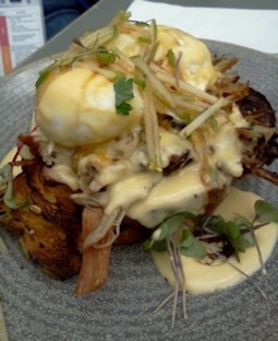 Tall Timber Benedict with slow cooked pork shoulder
