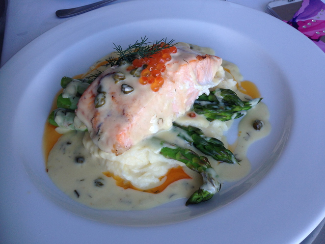 atlantic salmon, trout caviar, omeros on the beach, ramsgate, botany bay, lunch, dine, foodie