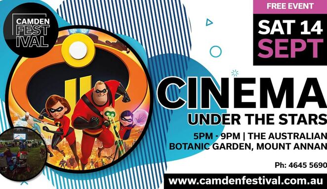 cinema under the stars, mount annan, free, family fun, incredibles 2