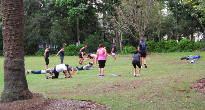Boot campers in the City Botanic Gardens