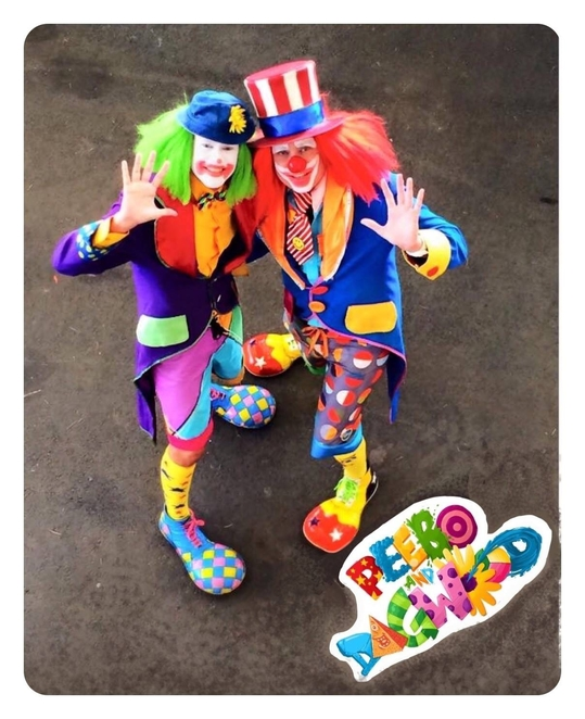 clowns, peebo and Dagwood, sandgate state school carnival
