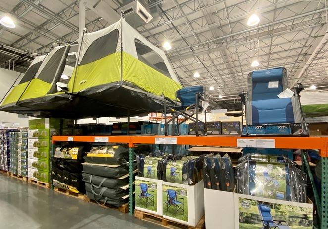 Camping and outdoor products for sale at Costco Wholesale